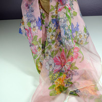 Vintage Silk Scarf Kerrybrooke Pink Flowered Silk Scarf Pink Violet Purple Yellow Green Hand Rolled Pure Silk Scarf