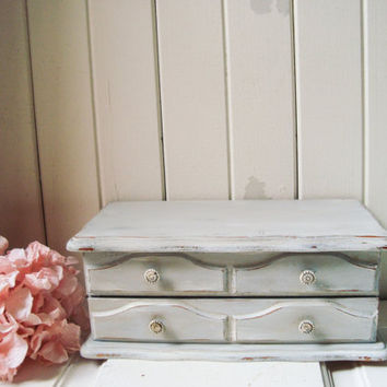 Antique Paris Grey Vintage Jewelry Box, Light Gray Small Jewelry Holder, Distressed Jewelry Chest, Cottage Chic, Gift Ideas