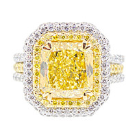 4 Carat Natural Fancy Intense Radiant Cut Diamond Ring