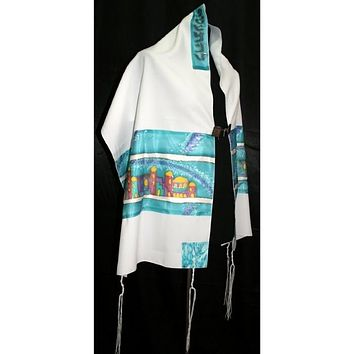 Sky Blue Silk Paneled Jerusalem Tallit
