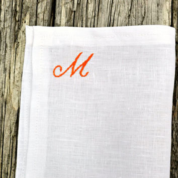 Initial Hankerchief, White Linen Monogrammed Pocket Square, Tuxedo Handkerchief Embroidered Pocket Square Personalized Hankie Monogram Hanky