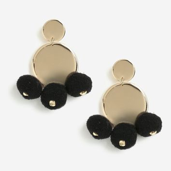 Semi Circle Link Pom Drop Earrings