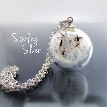 Sterling silver dandelion necklace. Make a wish.real flowers. seeds elegant romantic. glass orb