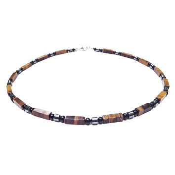 Mens Chakra Necklace Tiger Eye Crystal Healing Stones Energy Balancing Jewelry STABILITY MN36