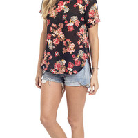 Sport Chic Floral Print Woven Tee