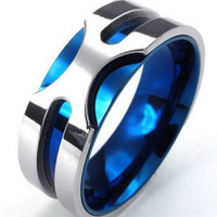 Mens Stainless Steel Ring, 8mm Classic Band, Blue Silver - KONOV Jewelry