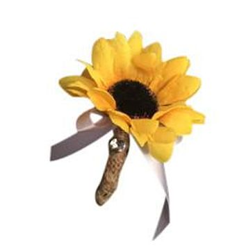 Boutonniere-Sunflower Burlap ribbon with your choice of ribbon bow