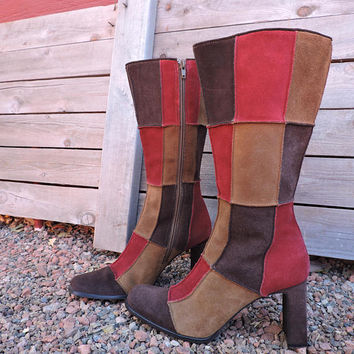 Patchwork leather boots / size 7.5 / retro suede brown red boots / boho hippie festival boots