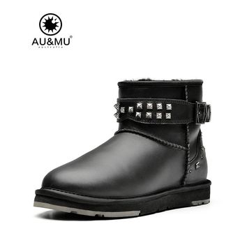 2017 AUMU Australia Rivet Leather Fur Slip-on Buckle Strap Round Toe Rubber Soles Snow Winter Boots UG N037