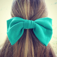 Forest Green Oversized Bow Hair Tie