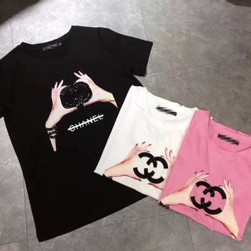 """""""Chanel"""" Women Casual Fashion Hands Print Letter Short Sleeve Round Neck T-shirt Top Tee"""