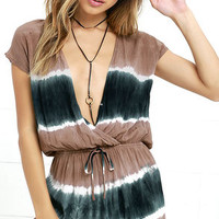 Beach Dweller Brown Tie-Dye Romper