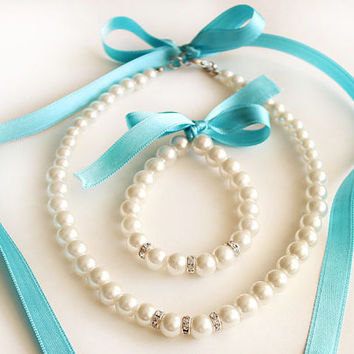 Flower girl jewelry set pearl necklace bracelet set tiffany blue satin ribbon wedding gift junior bridesmaid pearl bracelet  wedding party
