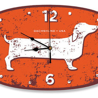 New Happy Hot Dog DOXIE DACHSHUND USA Wall Clock by nakeddecor
