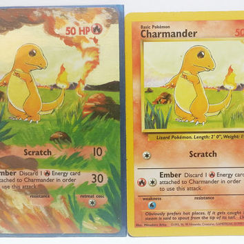 Hand Painted Extended Art Pokemon TCG - Charmander (Base set)