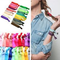 100 Pcs/lot Candy Color Ponytail Holders Ribbon Elastic Bands No crease Hair Ties