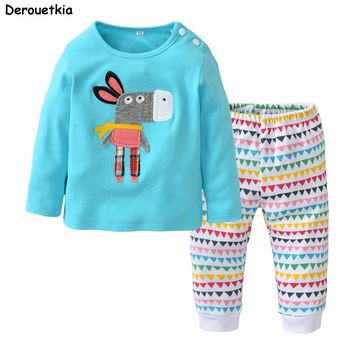 New 2018 Autumn Infant Clothes Baby Boy Girl Clothing Sets Cartoon Little Donkey T-shirt+Colorful Pants Newborn Toddler Outfits