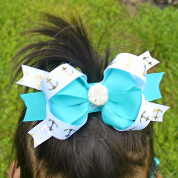 Seashell Turquoise Anchor Pinwheel/Stacked Hairbow