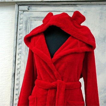 Women's bathrobe, Red bathrobe,gift for her,girls bathrobe,soft bathrobe,gift for women,cozy bathrobe,Gift for girlfriend