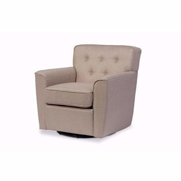 Canberra Beige Fabric Upholstered Button-tufted Swivel Lounge Chair with Arms By Baxton Studio