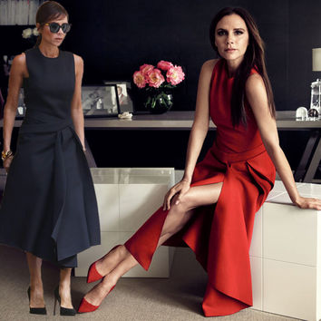 FANTFUR Runway Victoria Beckham Dress for Women Solid Color Black / Red Sleeveless Asymmetrical Mid Dresses Party Vestidos