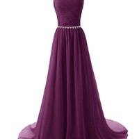 Dressystar Elegant Chiffon Beads Long Prom Dresses 2014 Pleated Party Gowns Size 4 Grape