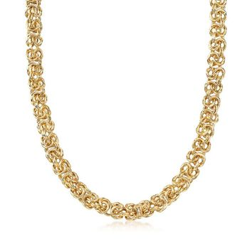 Thick Cut Italian Inspired Byzantine Unisex Chain Necklace in 14K Gold - Two Options
