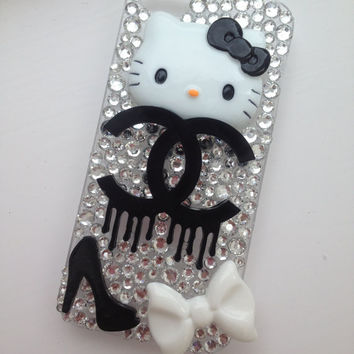 Black & White Dripping Kitty Sparkly Crystallised 3D Bling iPhone 5 Protective Cell Phone Case Cover