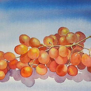 Watercolor Painting Fruit Still Life by Patty Bentley Grapes Food Wine Original