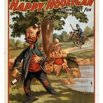 vintage poster HAPPY HOOLIGAN comical colorful art NOTHING BUT FUN 24X36