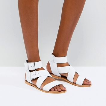 ASOS FARGO Leather Gladiator Flat Sandals at asos.com
