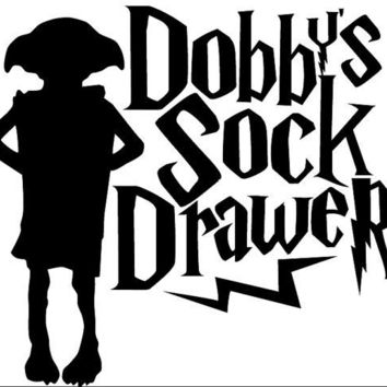 "Harry Potter Dobby Sock Drawer  4"" Decal White"