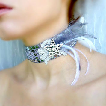Silver Rhinestone Star Art Deco Feather Choker - Great Gatsby Burlesque Retro