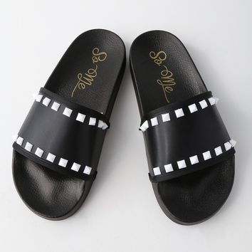 Rebel Black Studded Slide Sandals