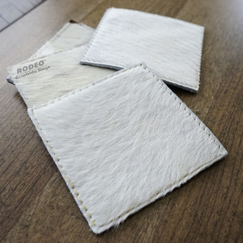 Handmade Ivory Rodeo Cowhide Leather Coaster 4 piece set