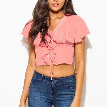 Chiffon Ruffle Tiered Boho Crop Top Dusty Pink