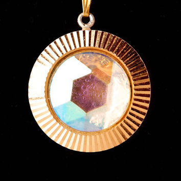 Vintage Gold Tone and Lucite Pendant Marked Germany
