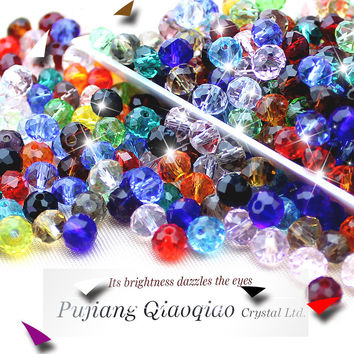 Mixed color crystal round bead 4MM 6MM 8MM 10MM 12MM multi color glass beads crystal rondelles beads