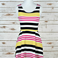Strawberry Lemonade Dress - Fuchsia/Yellow/Navy