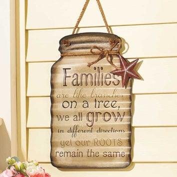 Hanging Mason Jar Sentiment Sign Family Happiness Home Country Rustic Corrugated Tin