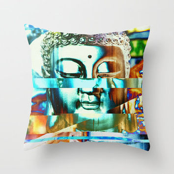 Glitch Buddha #3 Throw Pillow by Mark E Gould | Society6