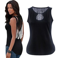EBUYTIDE Women's Tassels V-neck Irregular Tank Tops T-shirts