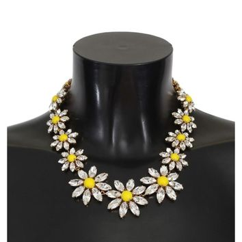Dolce & Gabbana Yellow Sunflower Crystal Statement Necklace