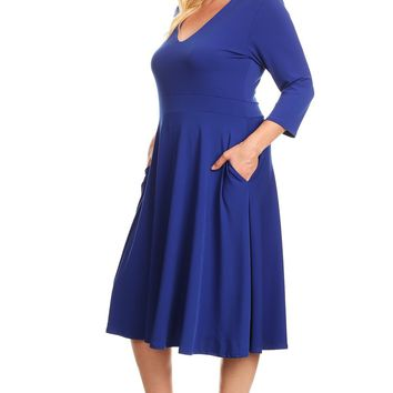 Short Cocktail Plus Size Maxi Dress with Pockets