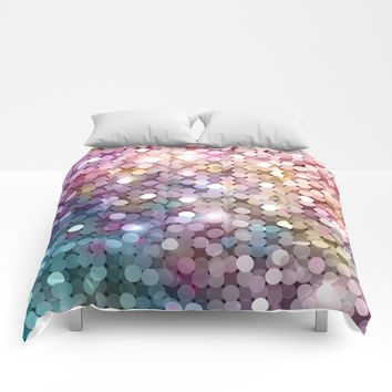 Rainbow glitter texture Comforters by printapix