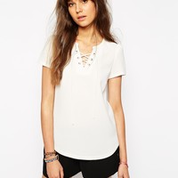 Maison Scotch Top with Lace Up Detail