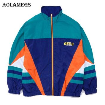 Trendy Aolamegs Jackets Men Retro Patchwork Color Jacket Tracksuit Coats Hip Hop Turn-down Collar Fashion Male Windbreaker Streetwear AT_94_13