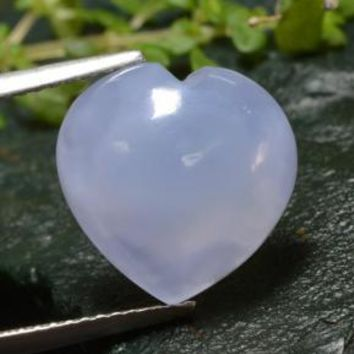 5.99 ct  Heart Cabochon Lavender Blue Chalcedony 12.9 x 12.9 mm