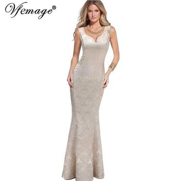 Vfemage Womens Elegant Sexy Dobby Fabric Charming Party Evening Mother of Bride Bodycon Mermaid Long Maxi Dress 2769
