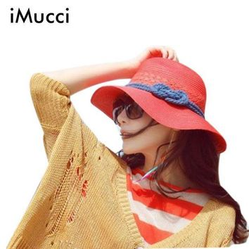 ESB1ON iMucci 2017 Hot Summer Hats For Women Wid Brim Straw Hat Beige Beach Hat Red Sun Cap Chapeu Feminino Hemp Rope Sunhat B
